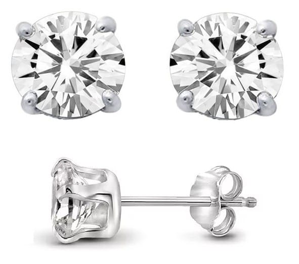 2 Carat TW Genuine White Topaz Stud Earrings in .925 Sterling Silver  $5 (or Less) + Free Shipping