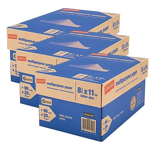 """3x 10-Ream Case Staples 8.5"""" x 11"""" Multipurpose Paper  Free (w/ Visa Checkout) after $132 Rebate + Free Shipping"""