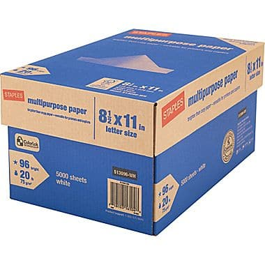 Staples Case Of 5,000 Sheets Multipurpose Paper For $4.99 Shipped After Mail In Rebate