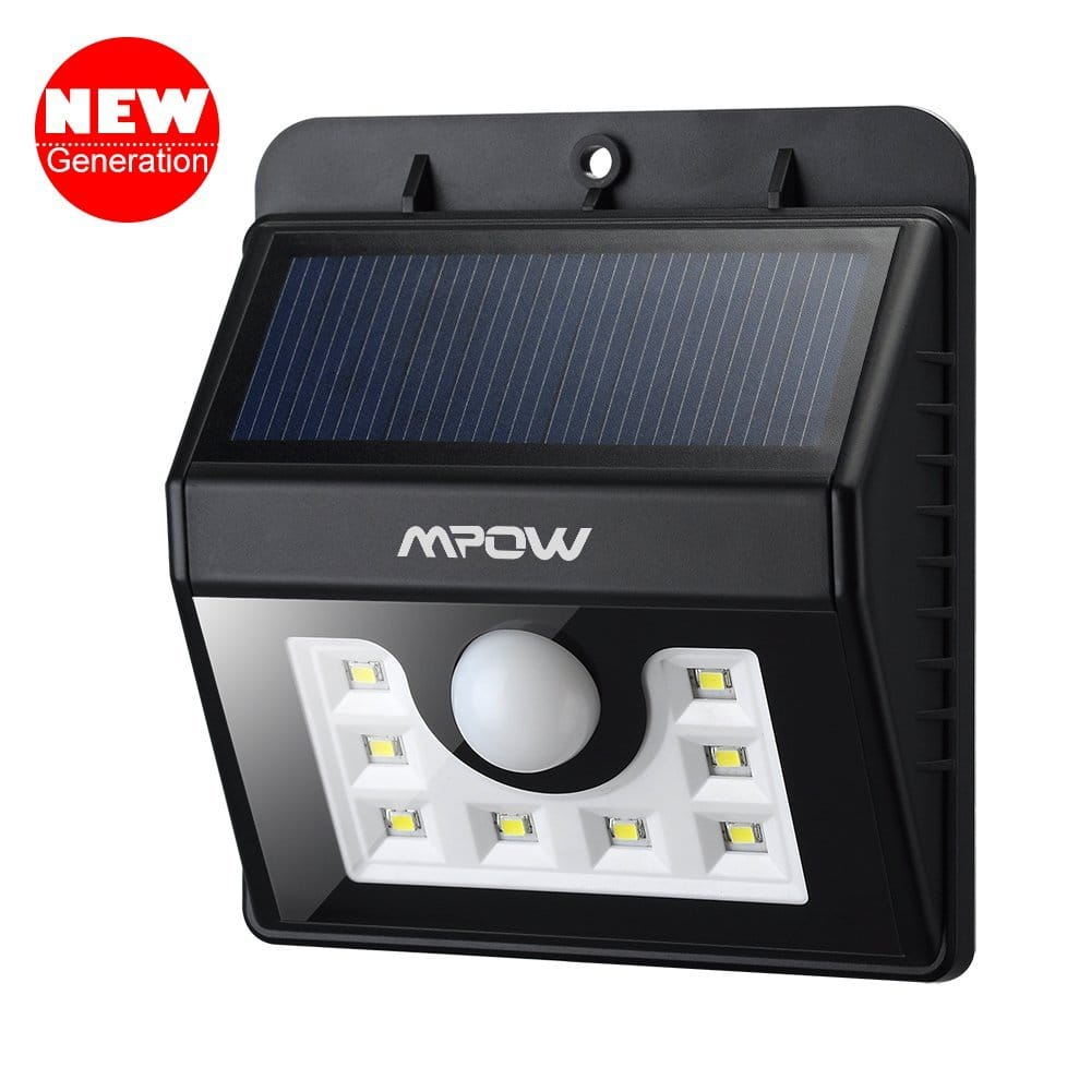 Mpow 8 LED Solar Powered Wireless Outdoor Motion Sensor Security Light for $13.99 AC (or less) + FSSS or FS w/ Prime @ Amazon.com