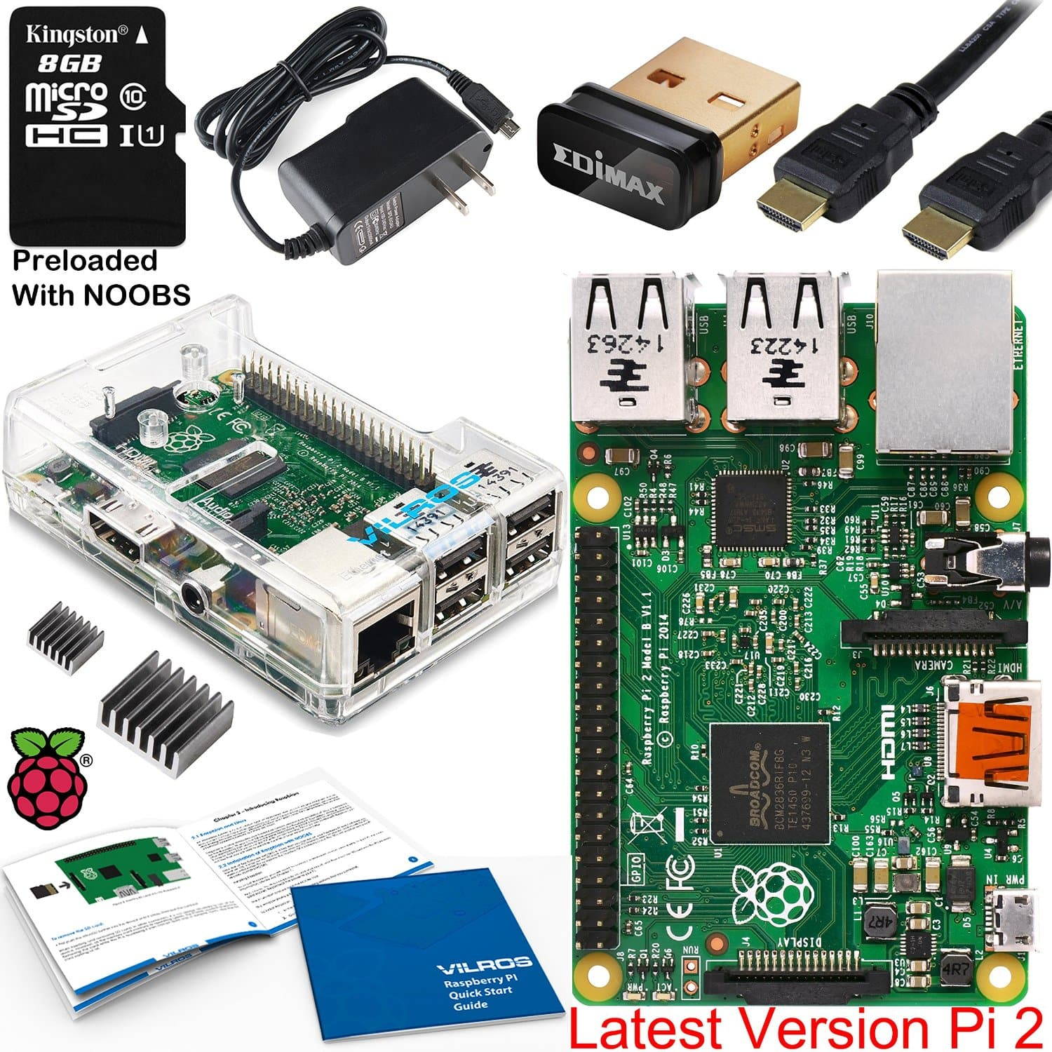 1GB Raspberry Pi 2 Model B Project Board Complete Starter Kit  $65 & More + Free S&H