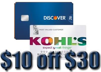 Discover Card + Kohl's Card Stackable Coupons: 20% Off +  $10 off $30