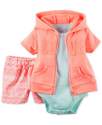 Carter's: Baby Girls' 2-Piece Top and Leggings Set from $4.80, 3-Piece from $5.60, More + FS at $50 or $4 shipping