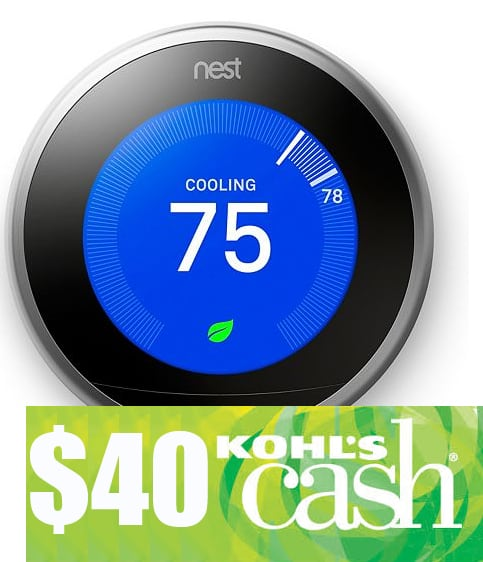 Nest Learning Thermostat (3rd Generation) + $30 in Kohls Cash $199.99 + free shipping (or get $40 in Kohls Cash w/ $1.26 filler)