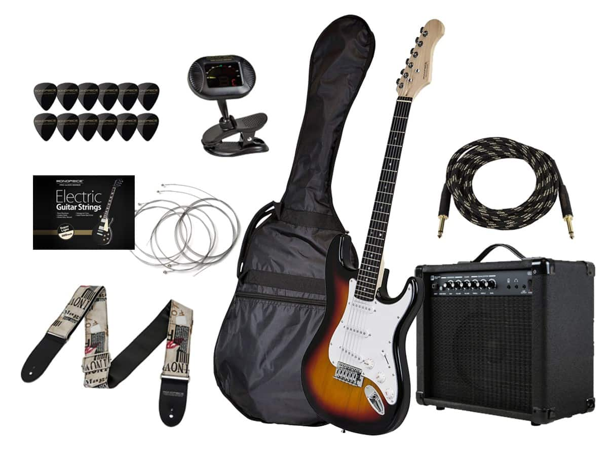 Monoprice California Classic Sunburst Guitar with Gig Bag and 20-Watt Amp, Tuner, Strap, Cable, Picks, and Replacement Strings $110.50 + free shipping