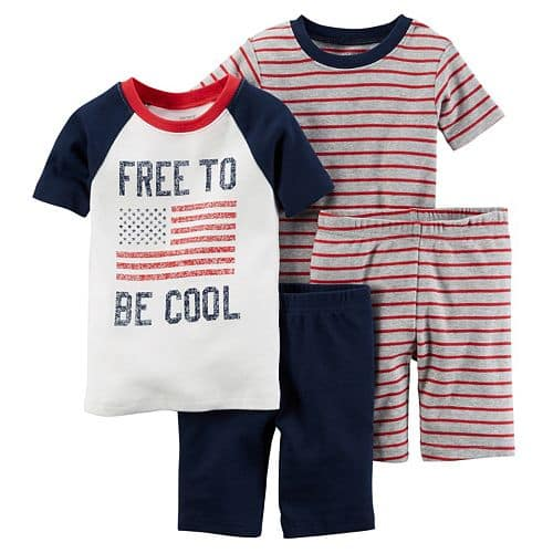 Kohls Cardholders: 4-Piece (2pc Tees, 2pc Shorts) Carter's Baby Boys' or Girls' Patriotic Pajamas $7.14 + free shipping