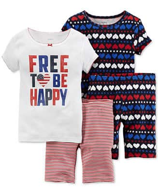 4-Piece Baby Girls' Free To Be Happy Pajama Set $6, 2-Piece Baby Girls' Carters Shirt and Short Set $4, Big Boys' TMNT Tees from $3.20, More + Free ship at $25