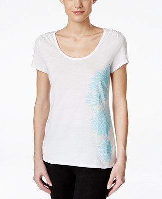 Women's Nautica Sleepwear: Coral-Graphic Pajama Top $3, Plus Size Short-Sleeve Pajama Top (blue) $3, Short-Sleeve Pajama Top $3 + Free ship on $25+