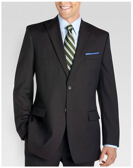 Jones New York Brown Stripe Peak Lapel Modern Fit Wool Suit (Reg and Big&Tall) $70 + free shipping
