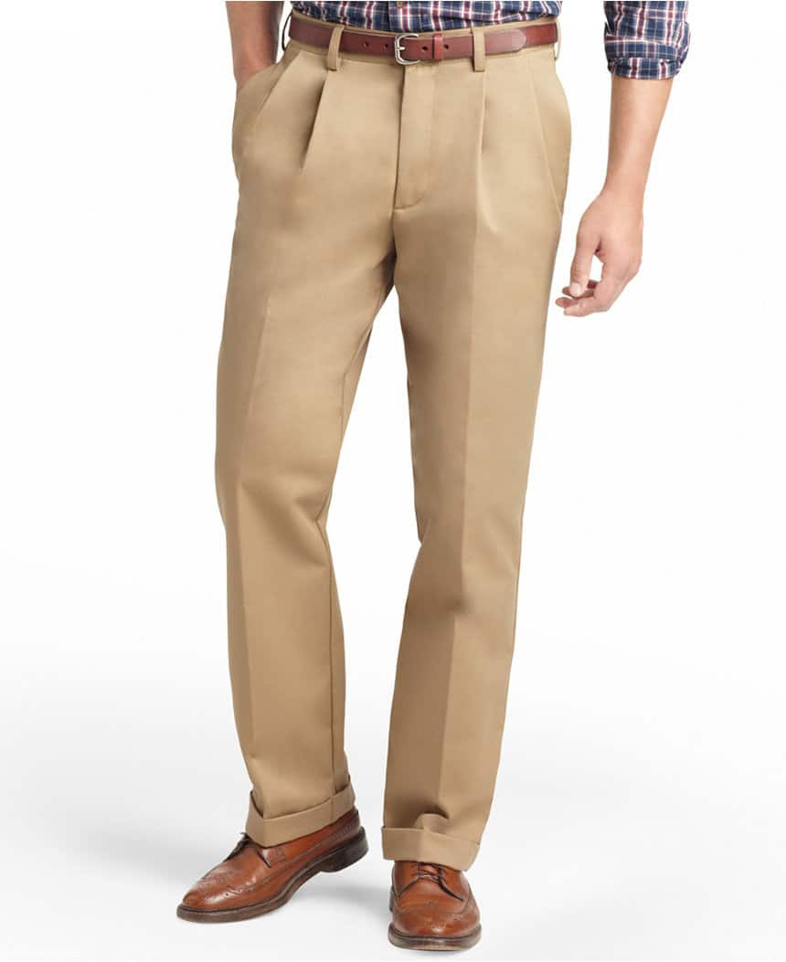 IZOD Men's American Pleated Classic-Fit Wrinkle-Free Pleated Chino Pants (English Khaki) + Graphic Tee $19 shipped