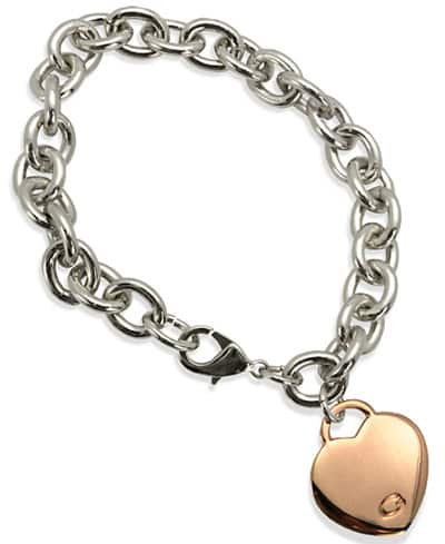 Macys Costume Jewelry: GUESS Two-Tone Heart Charm Link Bracelet $3.80, GUESS Crystal Pave Hoop Earrings $3.80, GUESS Gold-Tone Heart Charm Link Toggle Necklace $5.31 & More
