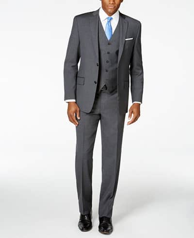MICHAEL Michael Kors Men's Charcoal Striped Deco Vested Classic-Fit Suit $127.50 + free shipping, More