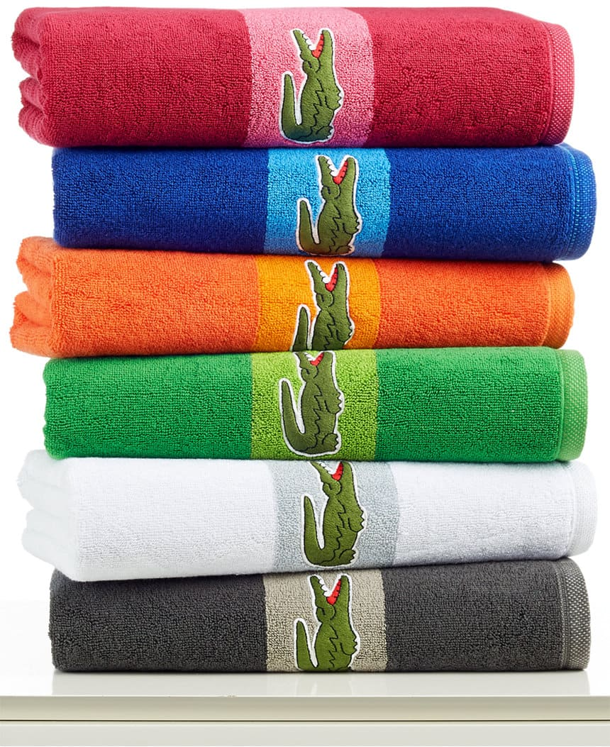 Lacoste 100% Terry Cotton Signature Logo Bath Towel  2 for $16 + Free Store Pickup