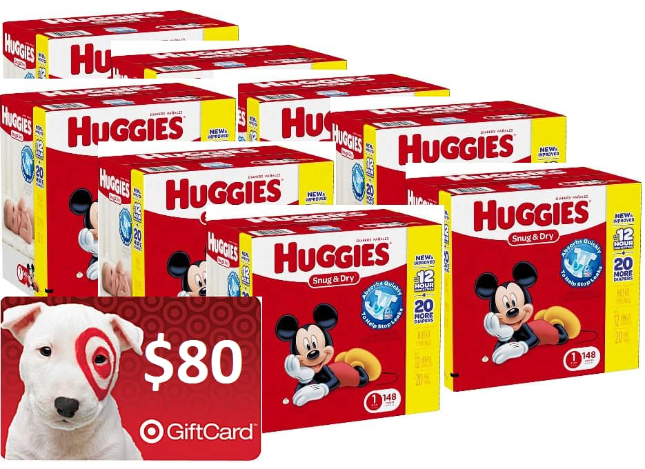 Target 8 boxes of super pack Pampers diapers + $80 GC for $184.81 or 8 boxes of super pack Huggies diapers + $80 giftcard for $182.81
