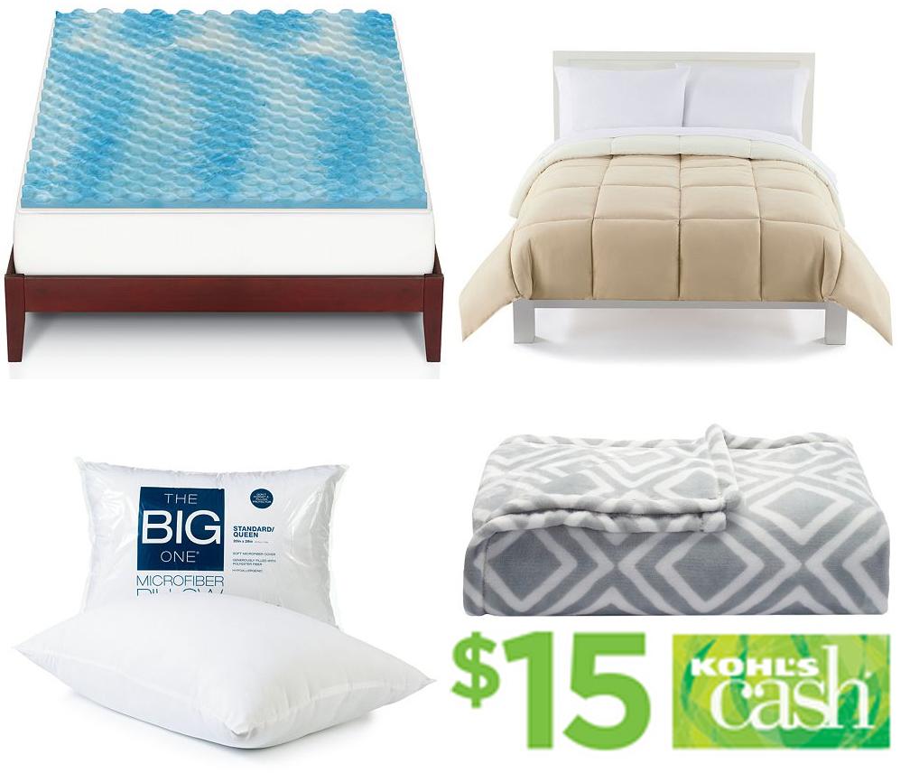 The Big One Gel Memory Foam Mattress Topper Comforter Plush Throw Pillow 15 In Kohls