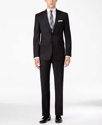Calvin Klein Men's X-Fit Slim Fit Wool Neat Charcoal Suit $80 + $4 shipping