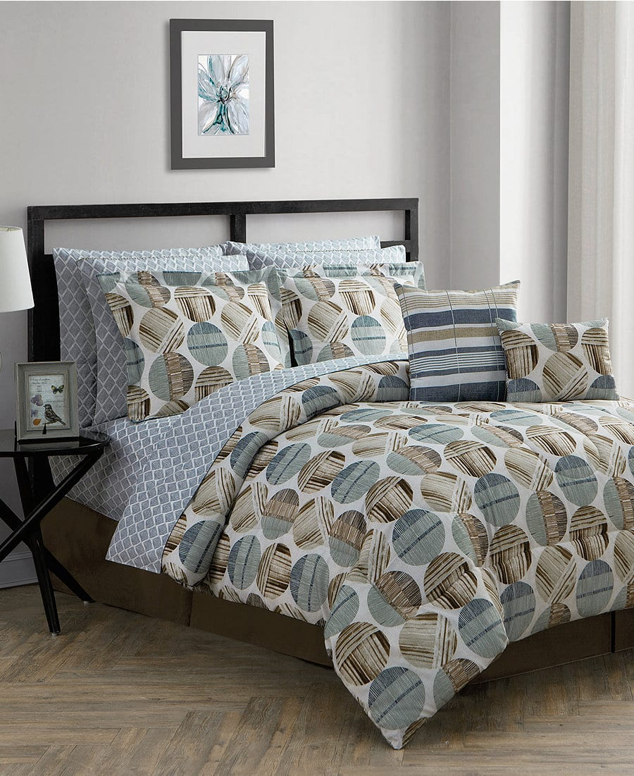 12-Pc Reversible Queen Comforter Set + $5 in Macys Money $34.44 (Comforter, 2 Decor Pillows, Shams, Bedskirt, Sheet Set w/ 4 pillowcases)