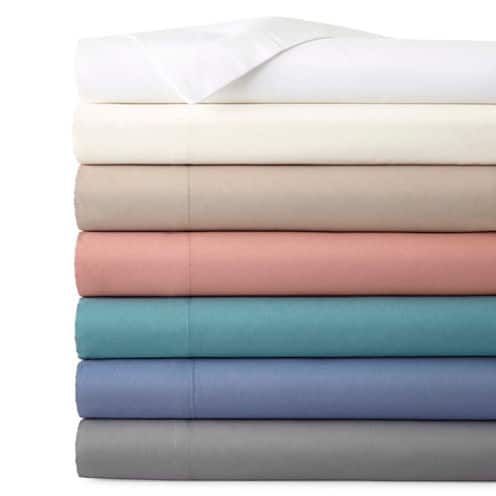 JCPenney Home 300tc Cotton Ultra Soft Sheet Set (Twin) 2 for $18 + free store pickup at JCPenney ($9 each)