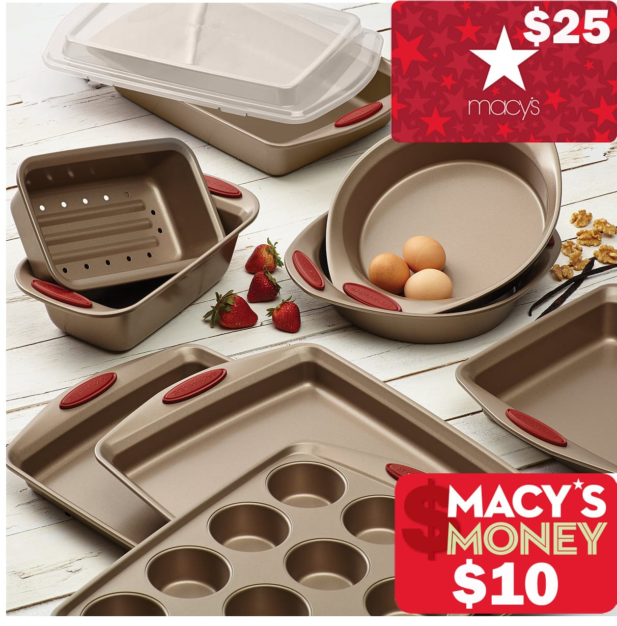Slickdeals Rebate: $25 Macy's Egift Card on $50+: 10-Piece Rachael Ray Cucina Bakeware Set + $25 eGC + $10 Macys Money $57.59 + free shipping