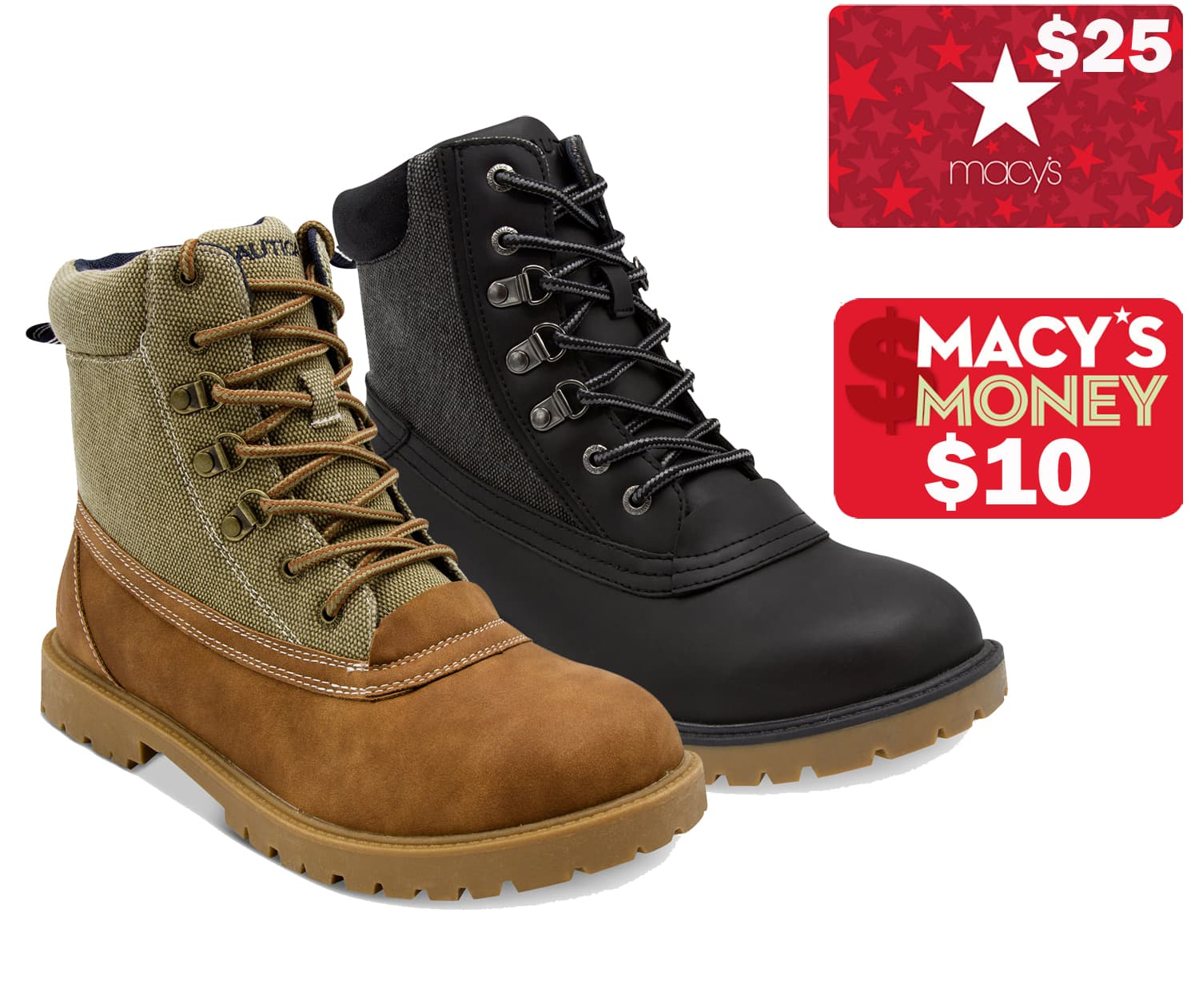 Men's Nautica, Kenneth Cole or Alfani Boots 2 for $60 + earn $25 Macys eGift Card + $10 in Macys Money (after Slickdeals rebate) + free shipping