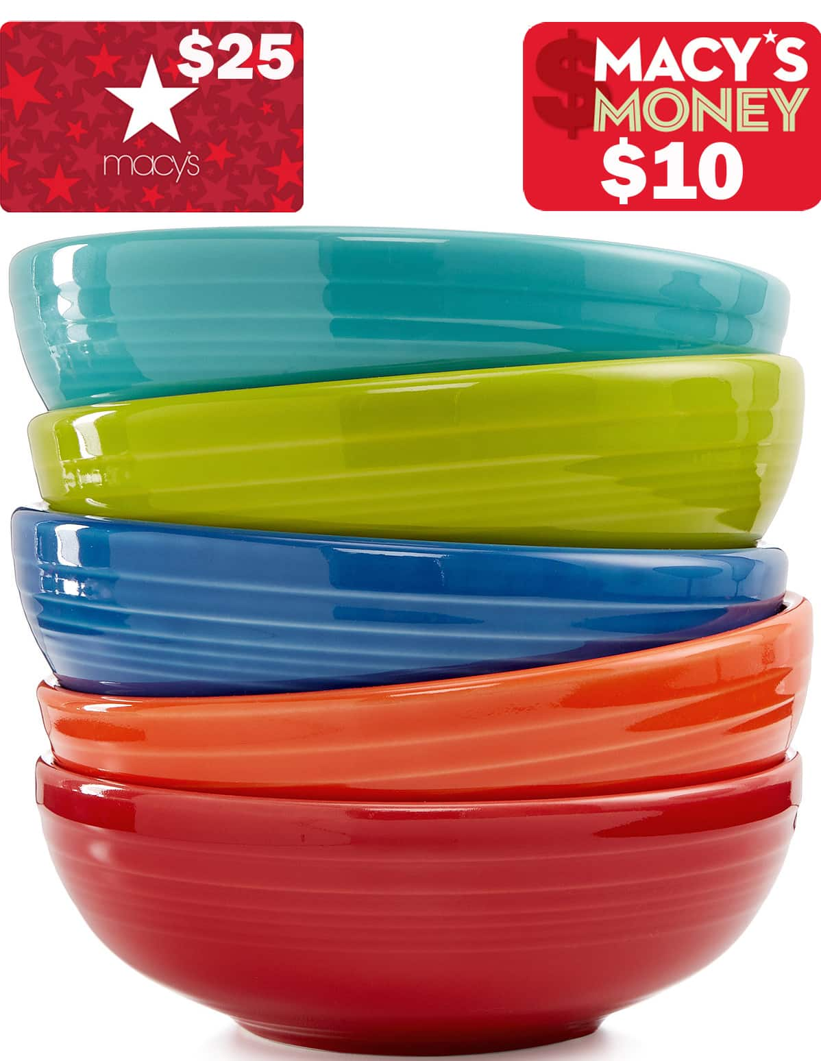 Fiesta A-La-Carte Dinnerware Pieces: Sale + $25 Macys eGift Card on $50 + $10 in Macys Money (after slickdeals rebate), 40-Oz Medium Bistro Bowl $9.60,  70-Oz Large Bistro Bowl $13