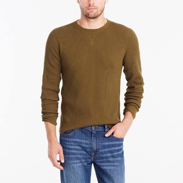 J Crew Factory 50% off Clearance: Men's Long-sleeve thermal crewneck $12.50, Slim Flex Washed Shirt (chimney) $15, More + free shipping