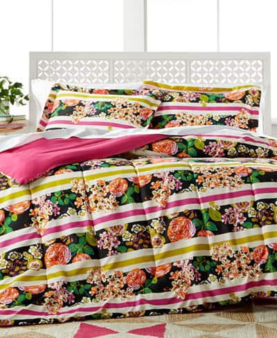 3-Piece Madison Stripe (bright floral!) Comforter Set 2 for $21 shipped ($10.50 each 3-pc set, twin-queen)