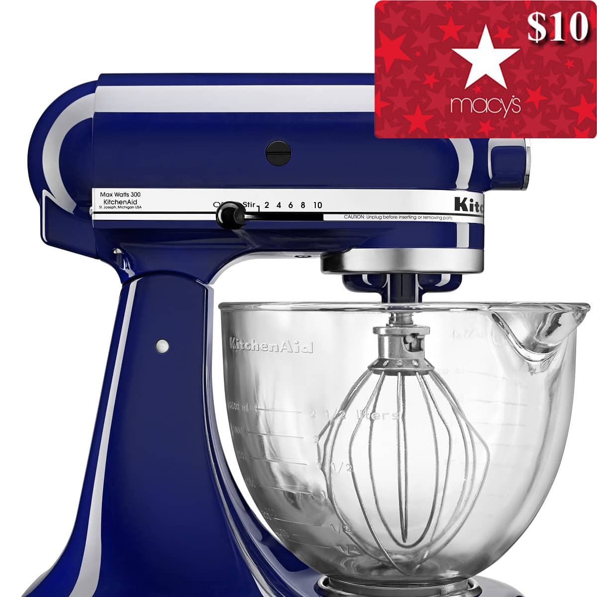 5-Qt KitchenAid Stand Mixer w/ Glass Bowl & Flex Edge Beater + $10 Macys eGift Card $180 (3 colors) + free shipping (after Slickdeals Rebate)