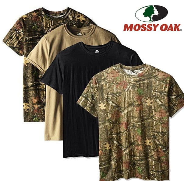 4-Pack Mossy Oak Men's Moisture Wicking Cotton T-Shirts (M or XL) $10 + free shipping (Includes 2 camo, 1 black, 1 brown)