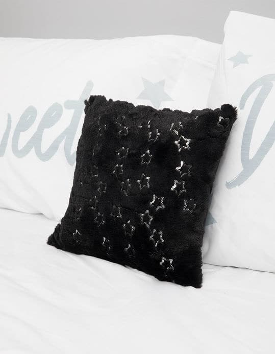 "11"" Black Star Sequin Pillow $2, 11"" XOXO Flip Sequin Pillow $3, 11.5"" Pizza Diet Sequin Pillow $3, Faux Fur Throw Blanket $6, More + free shipping"