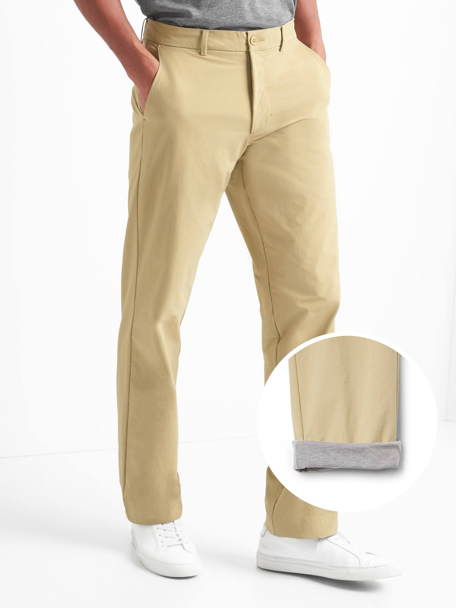 GapFit Men's Performance Khakis in Straight Fit with GapFlex $18.50, Brushed Cotton Pattern Pants in Slim Fit with GapFlex $14 + free shipping