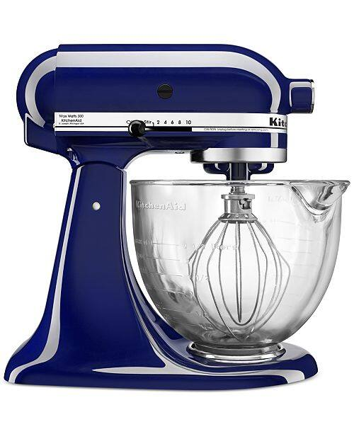 KitchenAid 5-Qt Tilt-Head Stand Mixer w/ Glass Bowl (3 colors) + $10 Macys Money $175.50 + free shipping