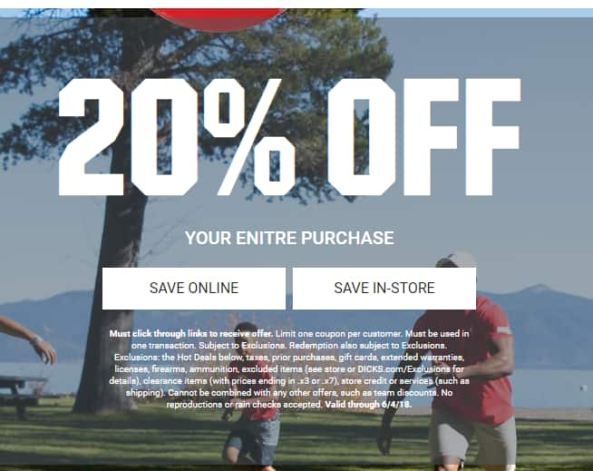 Dicks Sporting Goods 20% off your Purchase + Free Shipping on $49+ or free store pickup (Online or Instore)