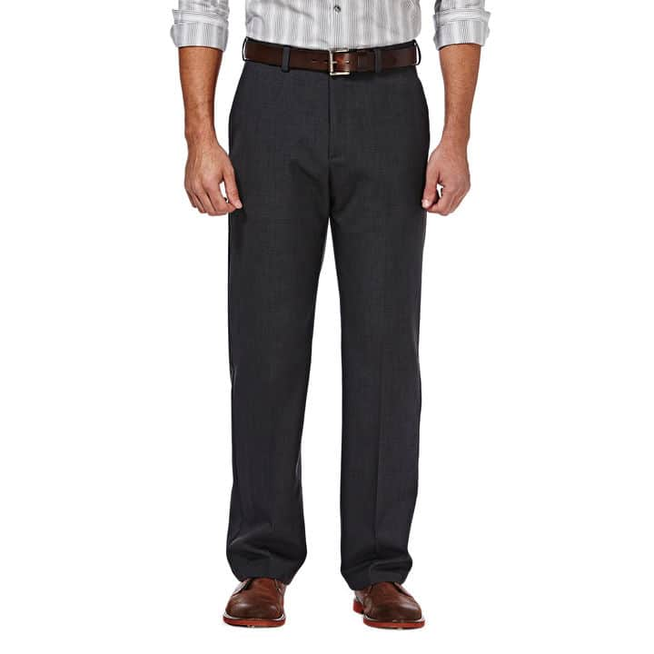 Haggar Men's Cool 18 Stria Expandable Waistband Flat Front Pant (dark grey) $13, More + $5 shipping (somewhat limited sizes)