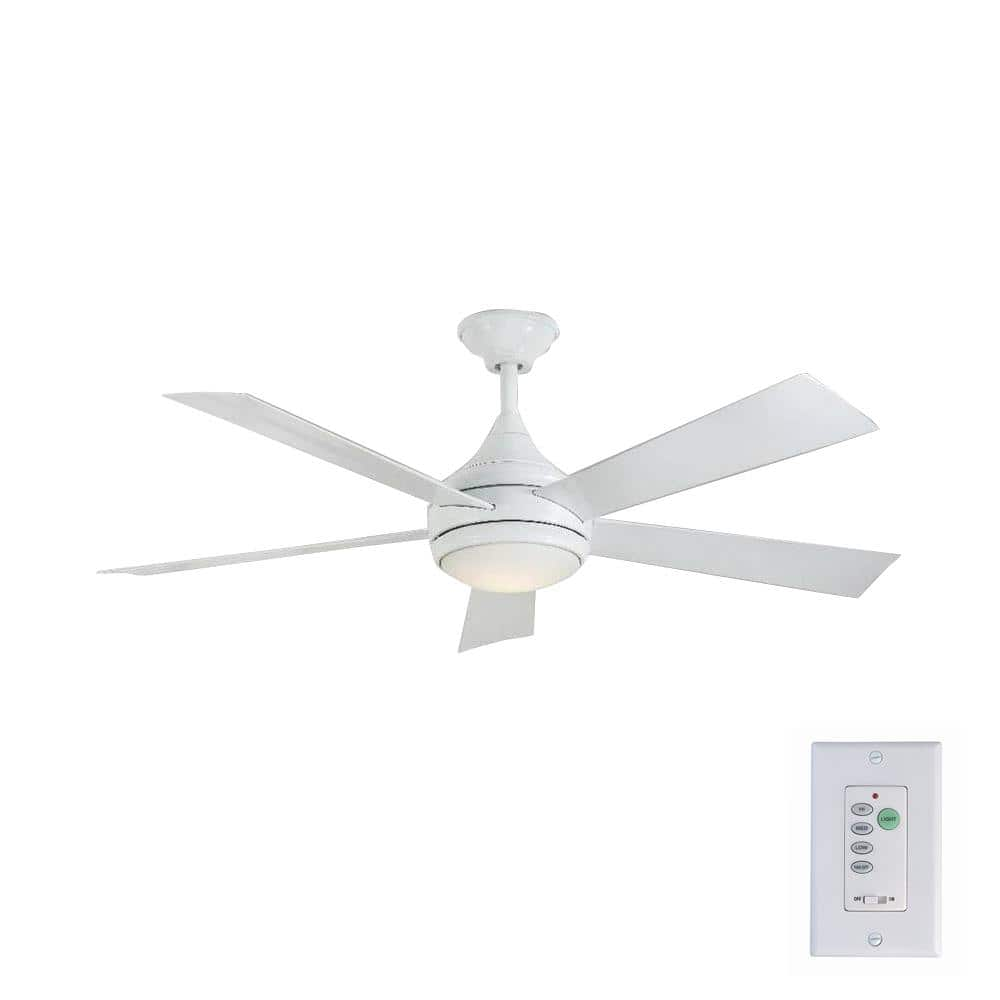 "Home Decorators Collection Hanlon 52"" LED Indoor/Outdoor Stainless Steel Glossy White Ceiling Fan with Light Kit and Wall Control $62.25 + Free shipping"