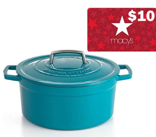 6-Qt Martha Stewart Enameled Cast Iron Dutch Oven (various colors) + $10 Macy's eGift Card $40 after $20 Rebate + Free shipping