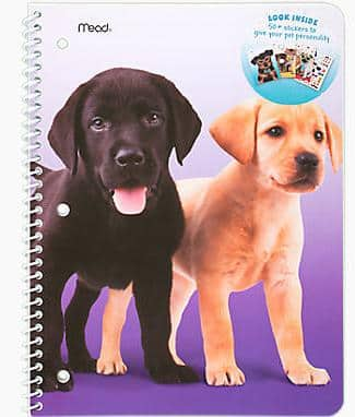 Mead Purrs and Grrrs 1-Subject Wide Rule Notebook w/ 60+ Stickers (6 styles) $1.29 + free shipping