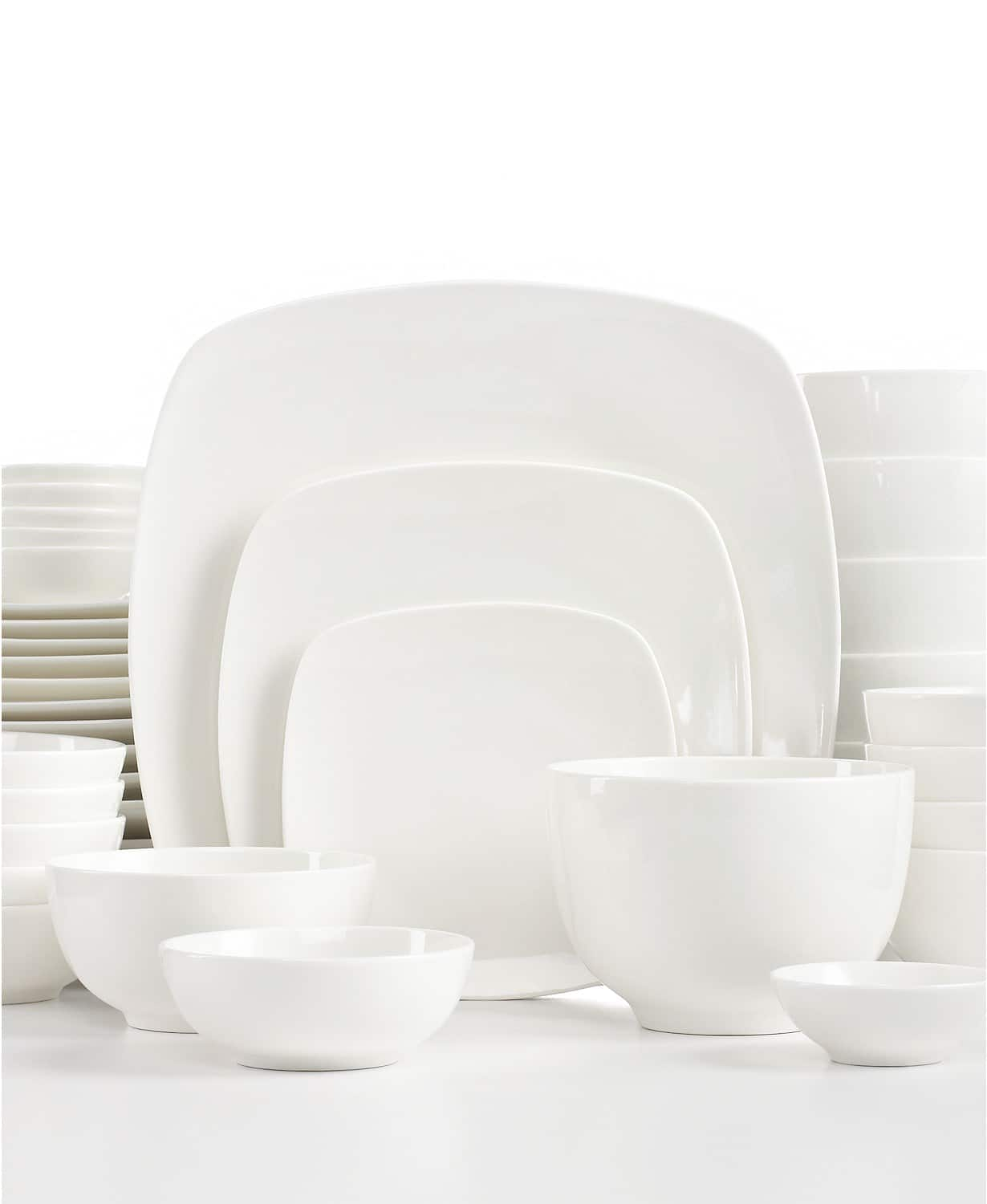 42 Piece Gibson White Elements Dinnerware Set Service For 6