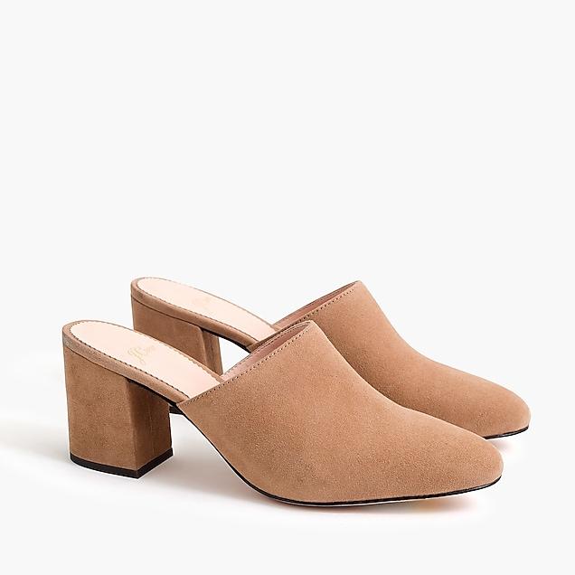 5d04081effbb J.Crew Women s Shoes  High Block Suede Heel Mules (Brown