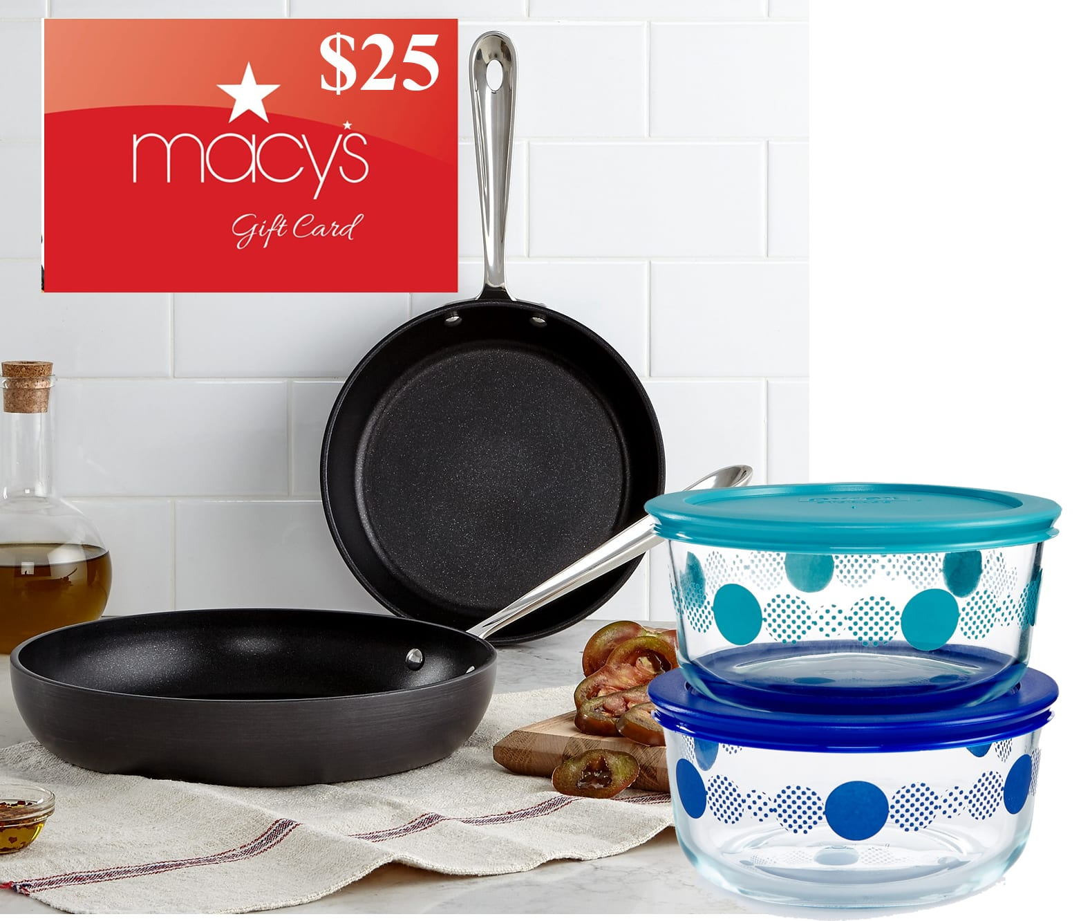 "All-Clad Hard Anodized 8"" & 10"" Fry Pan Set + 4-Pc Pyrex Set + $25 Macys eGC $51 after SD Rebate + Free Store Pickup"