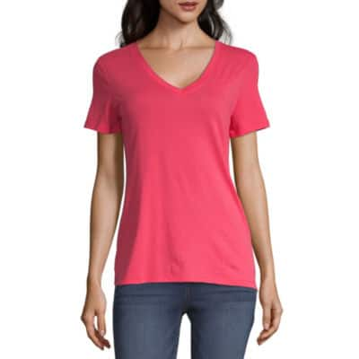 5f638e41c0882 St. John's Bay or a.n.a Womens V Neck Short Sleeve T-Shirt (various colors)  5 for $15 ($3 each) + Free Store Pickup at JCPenney