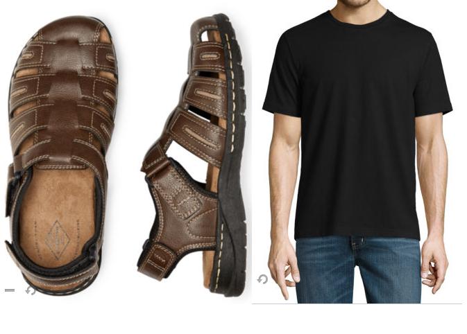 St John's Bay Men's Shoes or Sandals + St. John's Bay Men's Tee $16 + free store pickup at JCPenney