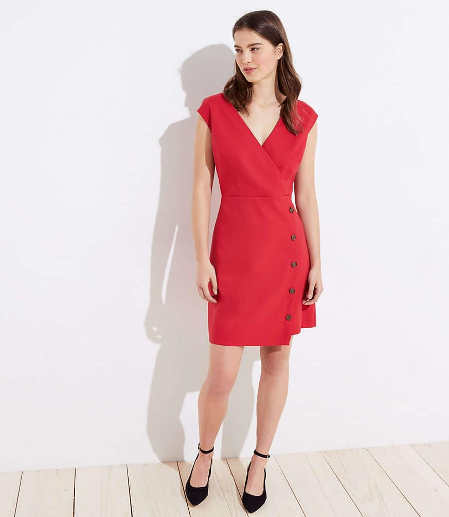 Loft Up to Extra 70% Off Clearance: Side Button Wrap Dress $6, Petite Wrap Dress $4.46, Curvy Bootcut Jeans $4.75, Split Back Mixed Media Sweatshirt $2.96, + Shipping