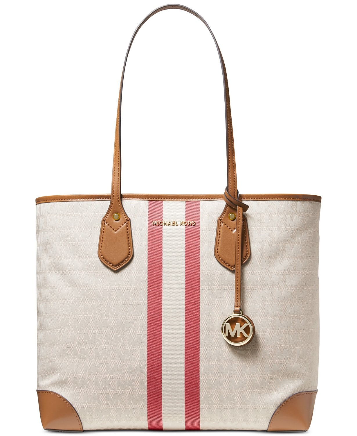 Michael Kors up to 70% Off:  Voyager East West Crossgrain Leather Tote + $10 Macys eGift Card $68.40, Eva Stripe Tote + $10 eGift Card $68.40, More + free shipping