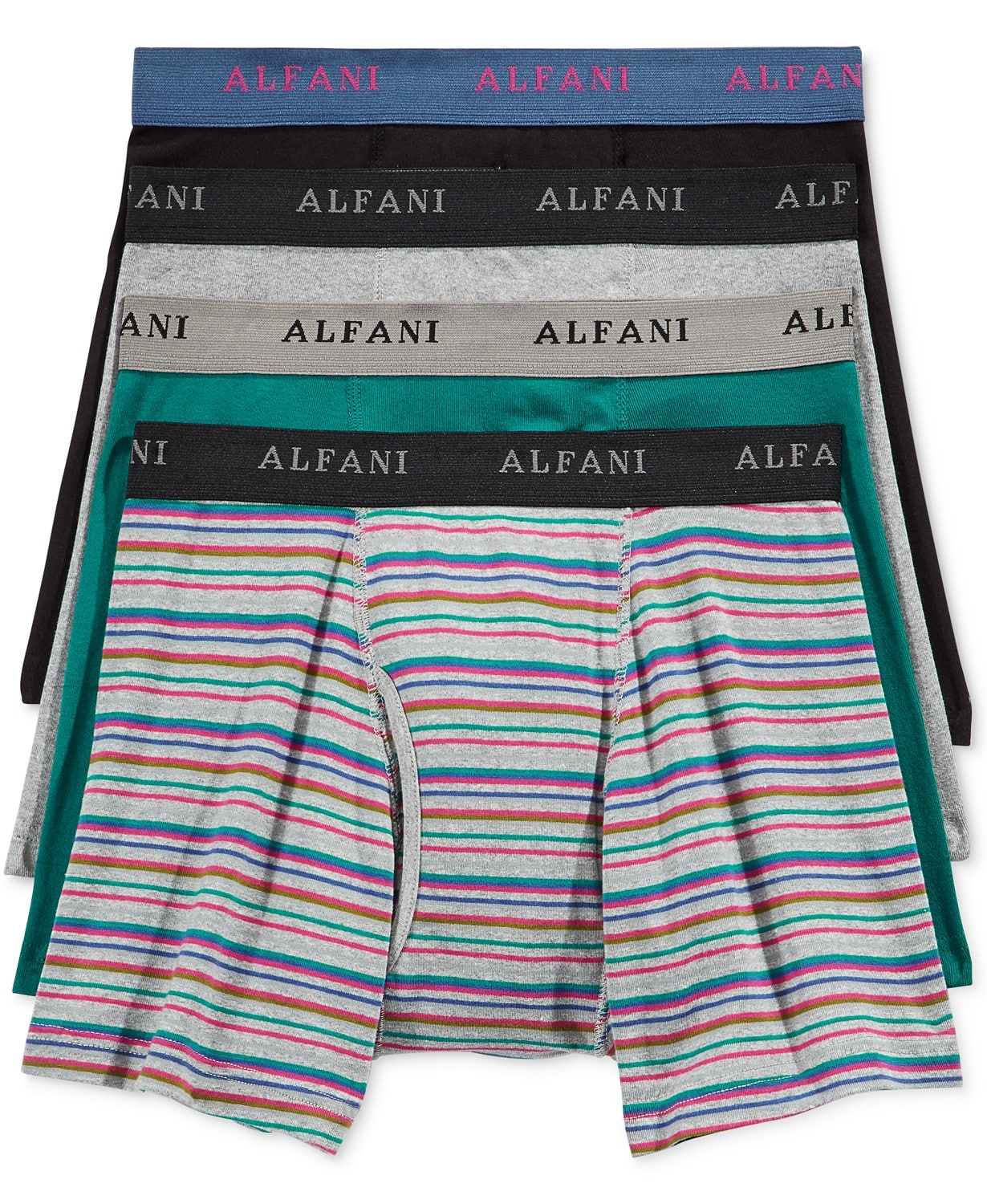 Alfani Men's Striped Boxer Briefs 4 for $8.50 ($2.12 each) + free store pickup at Macys