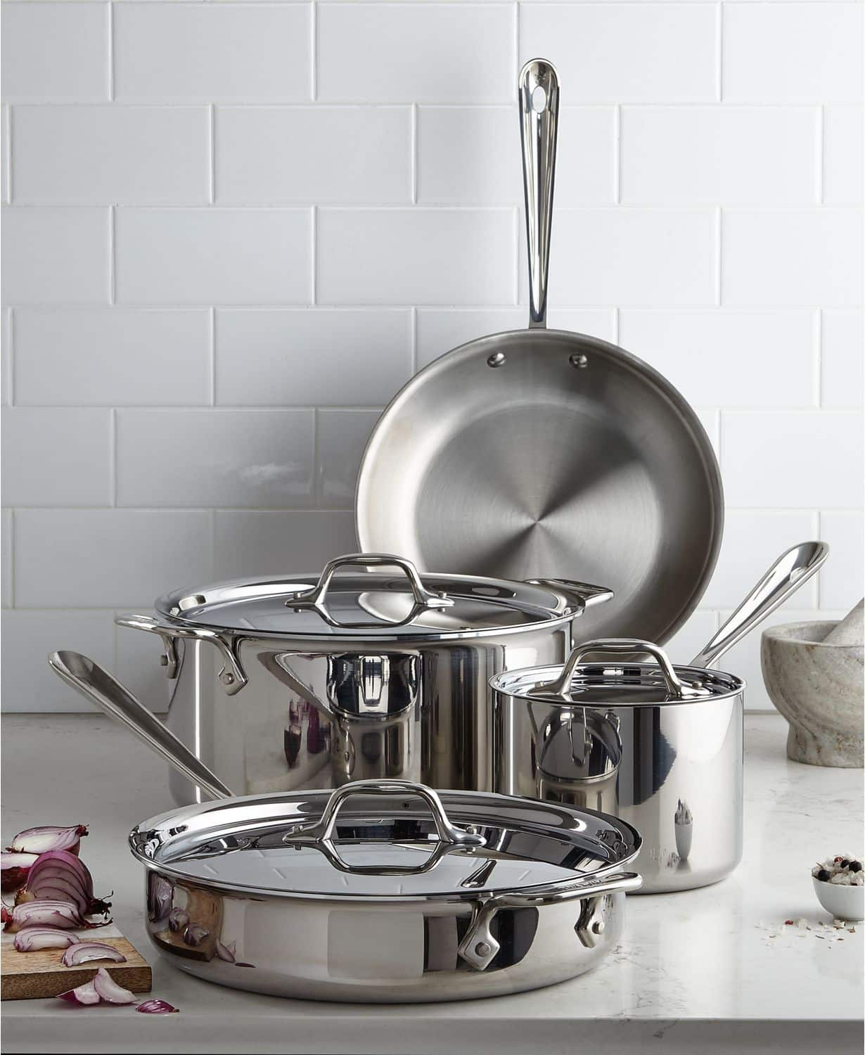 All-Clad Stainless Steel 7-Pc. Cookware Set + $25 Macys eGift Card $300 via Slickdeals Rebate + free shipping