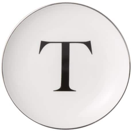 "6.25"" Caskata Artisanal Home Simple Initial Appetizer Plate (Letter T) $1  + free shipping"