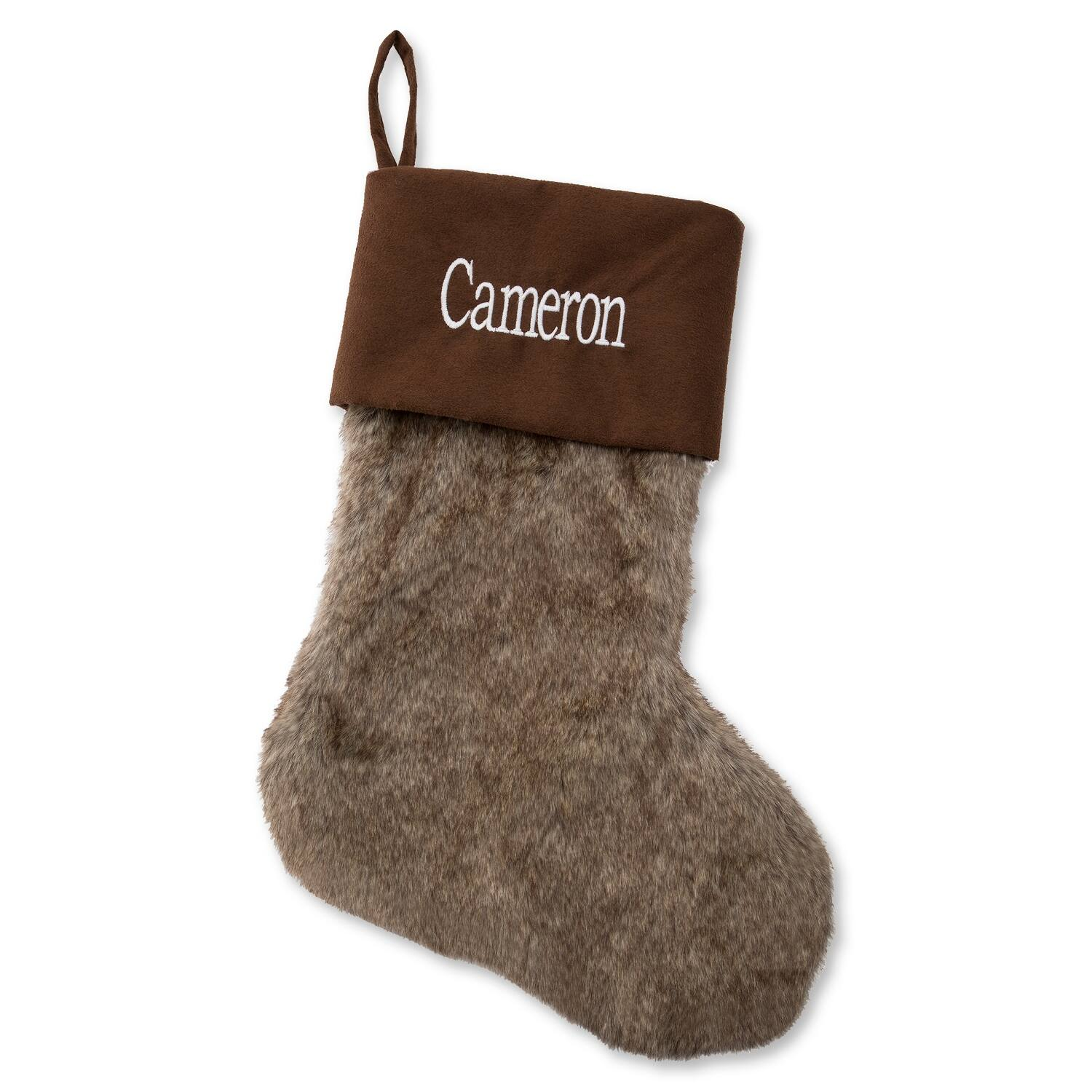 """20"""" Personalized Embroidered Brown Faux Fur Stocking $8 + free shipping"""