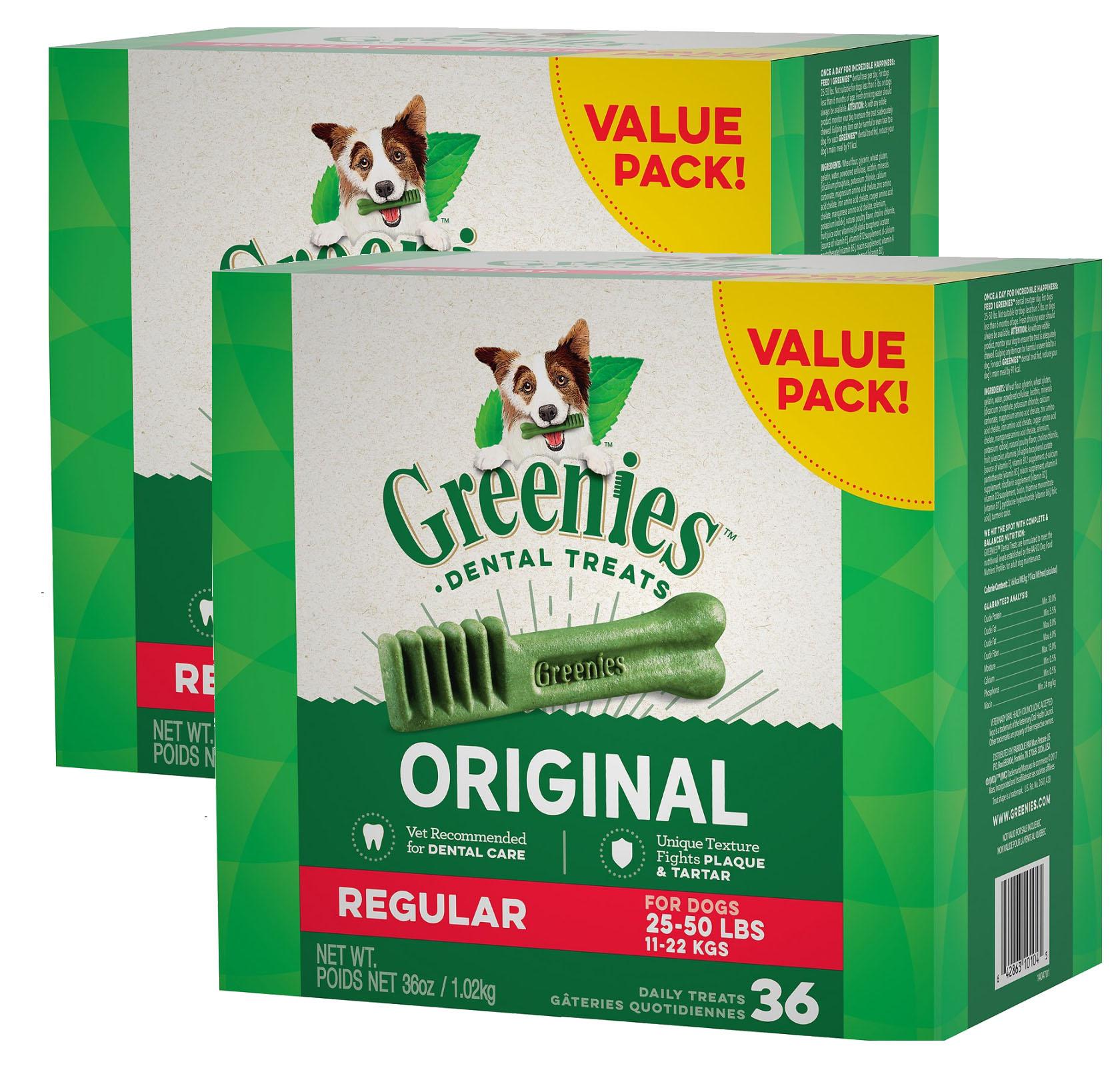 New Chewy Autoship Customers: 72-Count Greenies Regular Dental Dog Treats (dogs 25-50lbs) $23.79 ($11.89 per 36oz box)+ free shipping