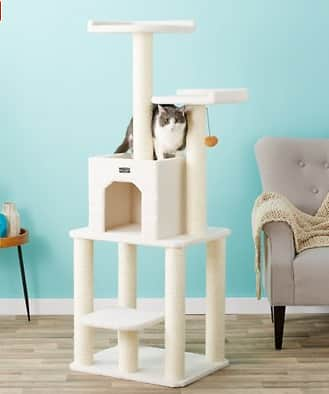 """New Chewy Autoship Customers: 62"""" Armarkat Cat Tree (ivory) $41 + free shipping"""